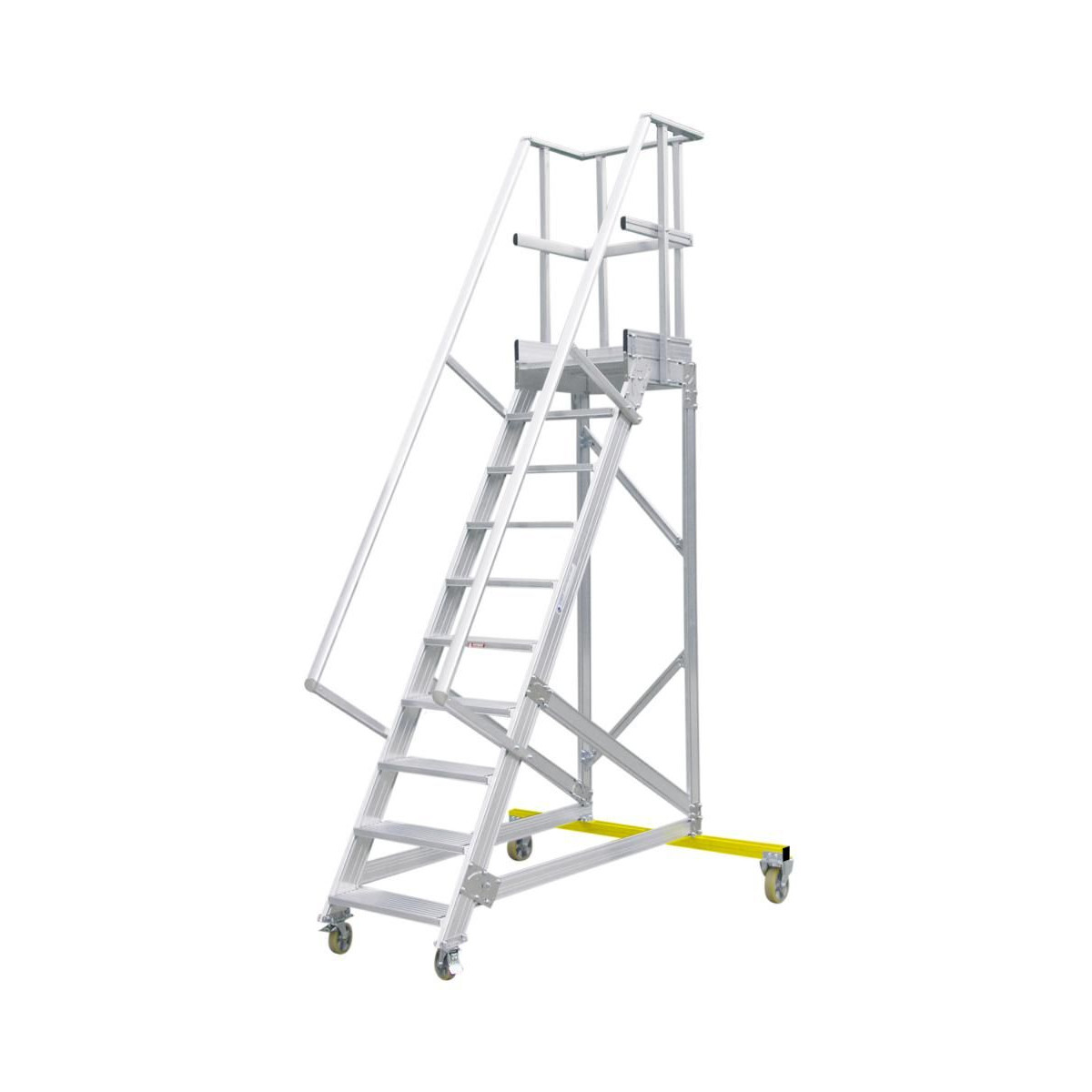 HYMER Podesttreppe fahrbar, Treppenneigung 60°, Stufenbreite 600 mm